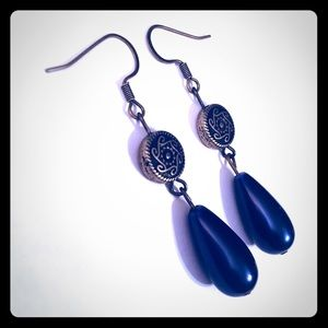 Jewelry - 💖✨Blue Pearl Teardrops Bronze Circle Earrings✨💖